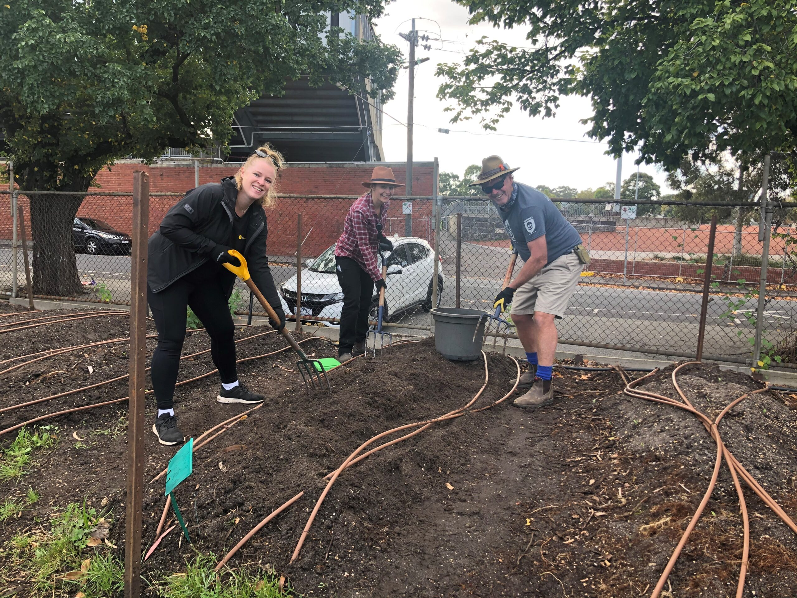The heavy lifters - digging out tree roots Lauren (L) and Perry with Isabel (centre) from FareShare (002)